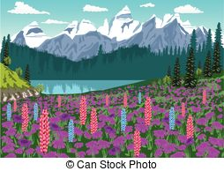 Alpine meadow Clipart Vector and Illustration. 134 Alpine meadow.