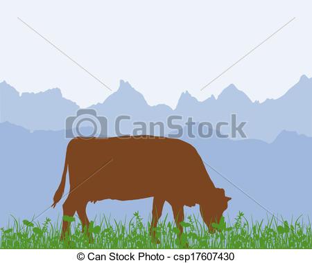 Vectors of Cow in the alpine meadow csp17607430.