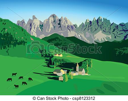 Vector Illustration of Mountains with alpine meadow csp8123312.