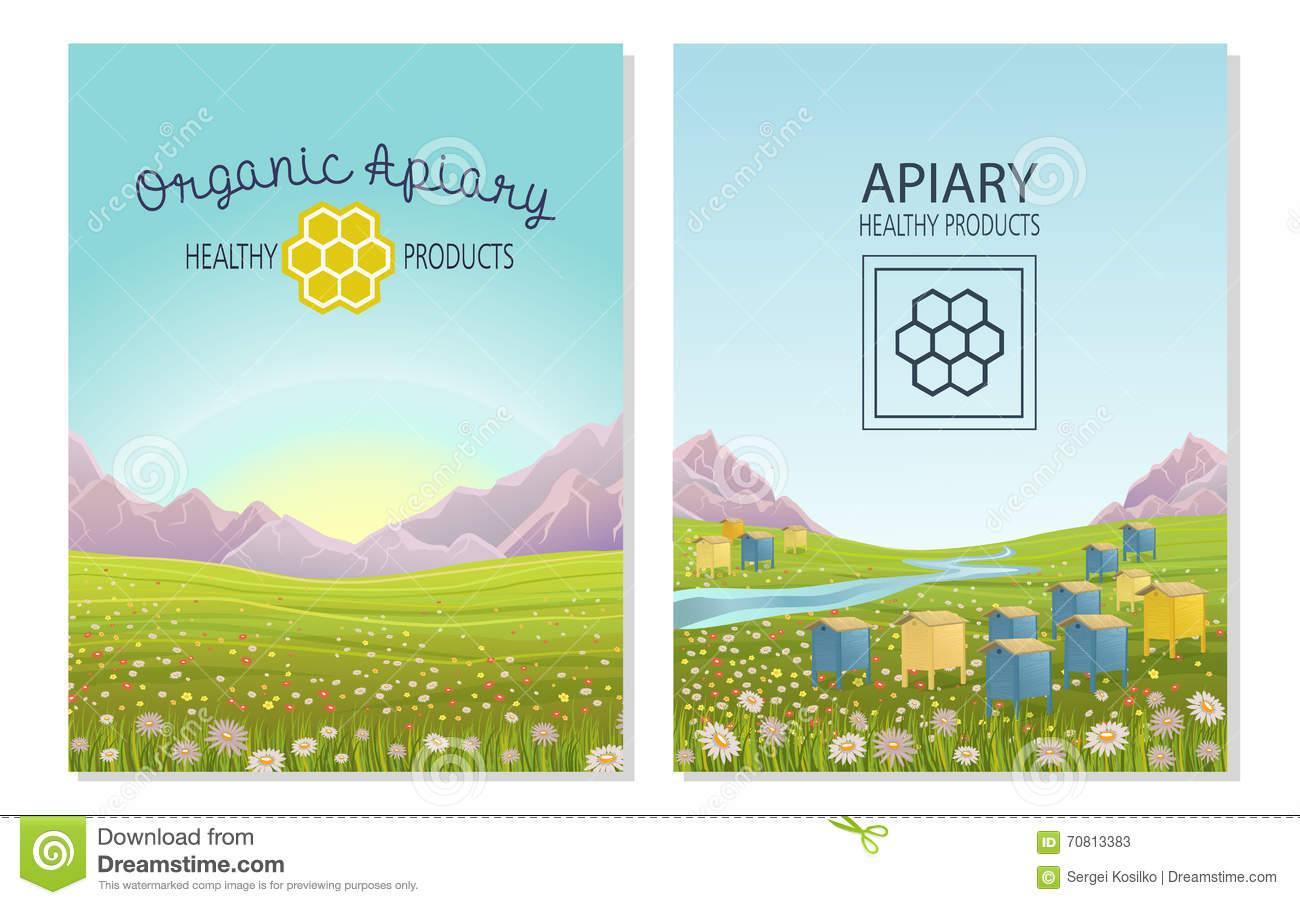Apiary In Alpine Meadows Mountains. Honey Farm. Stock Vector.
