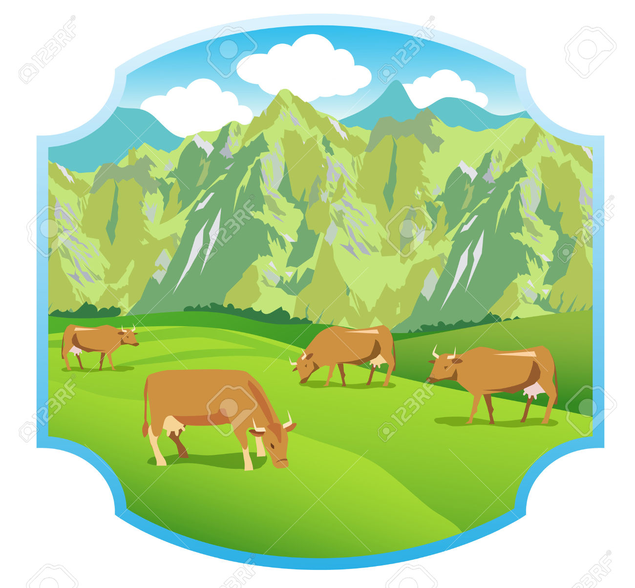 Cows On The Alpine Meadows. Mountains Range And Green Valley.