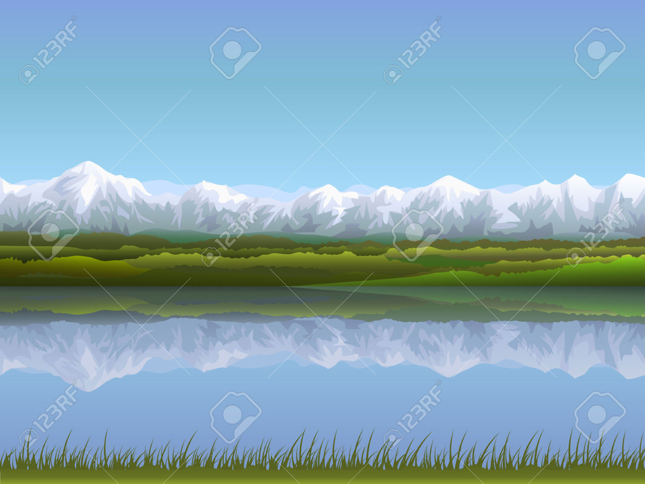Alpine Panorama Reflecting In Clear Water (other Landscapes Are.