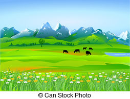 Alpine pasture clipart #3