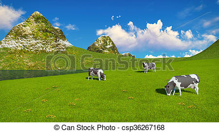 Stock Illustration of Mottled cows graze on alpine pasture.
