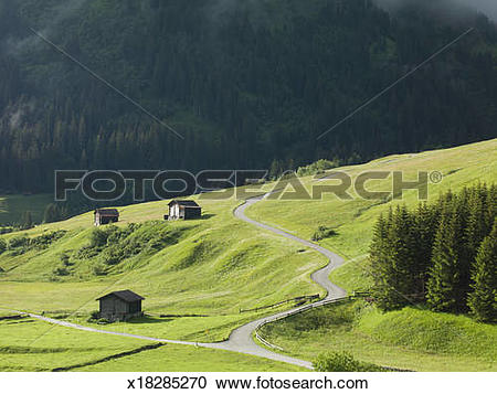 Stock Photography of Winding road through an alpine pasture.