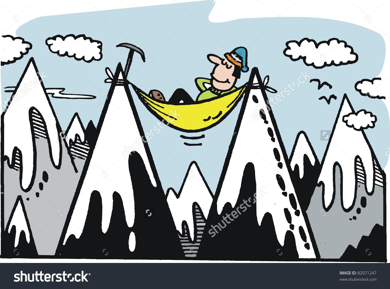 Vector Cartoon Mountaineer Relaxing On Alpine Stock Vector.