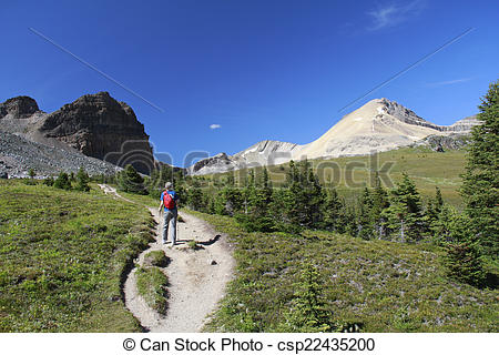 Stock Photography of Hiking on an Alpine Trail.