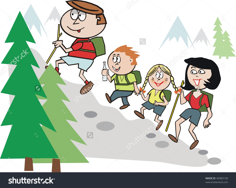 Cartoon Family Hiking Alpine Region Stock Vector 46983130.