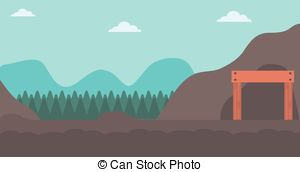Vector Clipart of mountain landscape way to rocks.