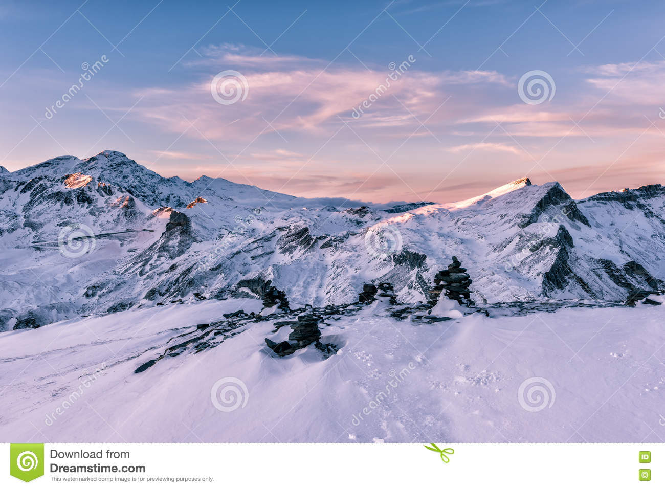 Gentle Pink Sunset Light At Winter Alps Mountains Stock Photo.