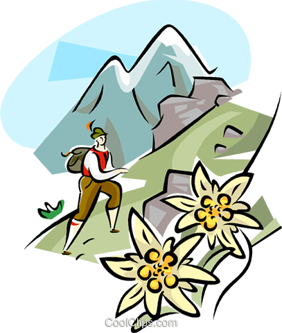 Hiking in the Alps Royalty Free Vector Clip Art illustration.