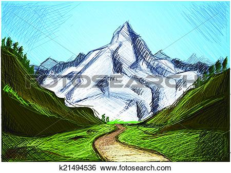 Clip Art of Alps in green k21494536.