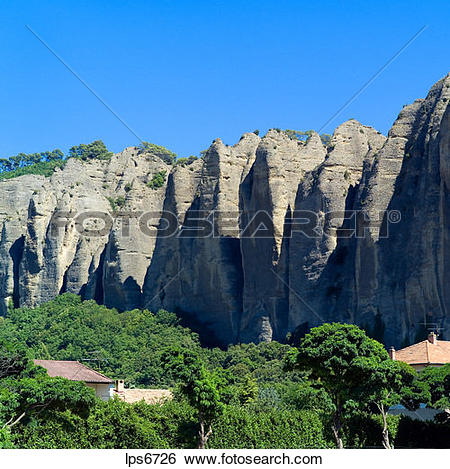 Stock Images of rochers des mees cliff and rock formation haute.
