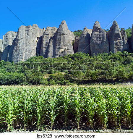 Pictures of maize field and rochers des mees cliff and rock.