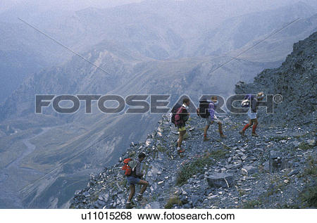 Pictures of Alps, hiking, France, Europe, A group of hikers.
