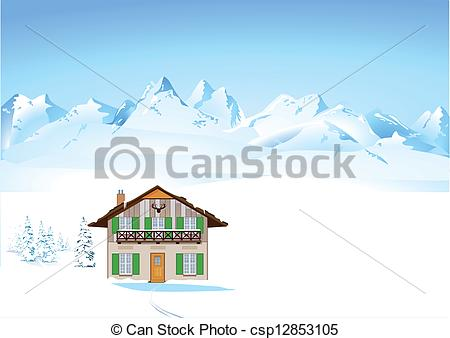 Vector Clipart of Winter in the Alps csp12853105.