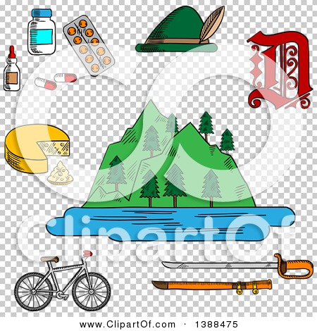 Clipart of a Sketched German Alps Mountains, Forest and Lake.