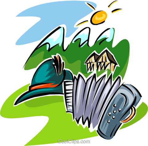 travel in Swiss Alps Royalty Free Vector Clip Art illustration.