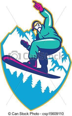 Vector Clip Art of Snowboarder Holding Snowboard Alps Retro.