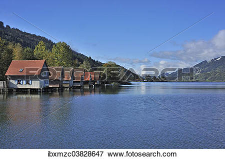 "Picture of ""Alpsee lake with boathouses, Buhl am Alpsee, Upper."