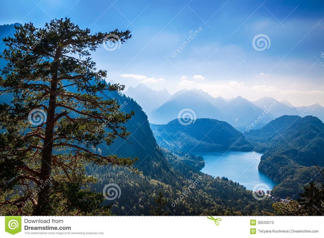 Alpsee Valley Bavarian Alps, Fussen, Germany Stock Photos.