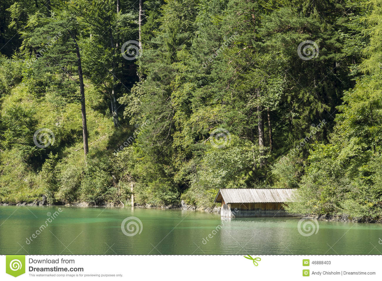 Green Alpsee Lake With Boating Shed And Trees, Germany. Stock.