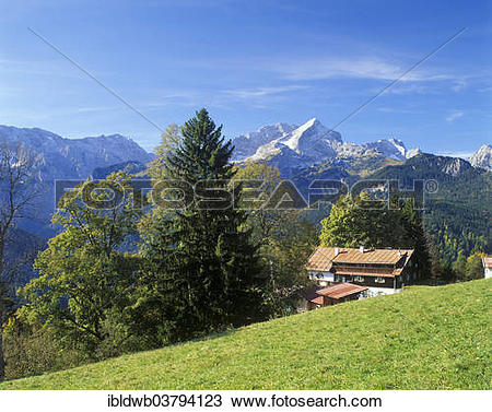 "Stock Photo of ""Gasthof Eckbauer guesthouse in front of Alpspitze."