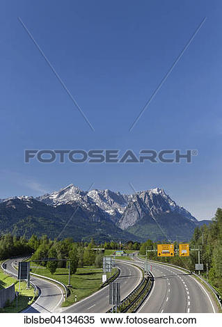 Stock Image of Federal road B2 at the tunnel exit of Farchant and.