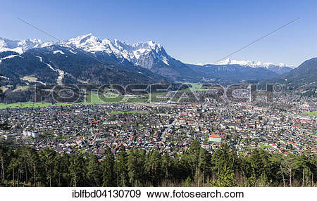 Stock Photograph of Townscape with the mountains Zugspitze and.