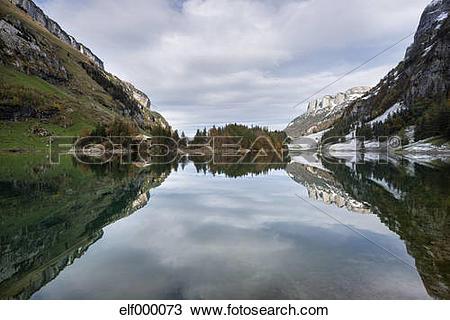 Stock Photo of Switzerland, View of Lake Seealpsee in Alpstein.