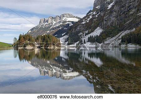 Stock Images of Switzerland, View of Lake Seealpsee in Alpstein.