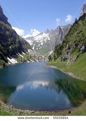Falensee Lake In Alpstein Massif, Appenzell Alps, Switzerland.