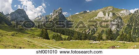 Stock Photography of Switzerland, Appenzell, Alpstein, View on.