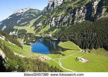 "Stock Photograph of ""Seealpsee Lake in the Alpstein region."
