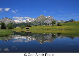 Stock Image of Santis and lake Schwendisee csp33091862.