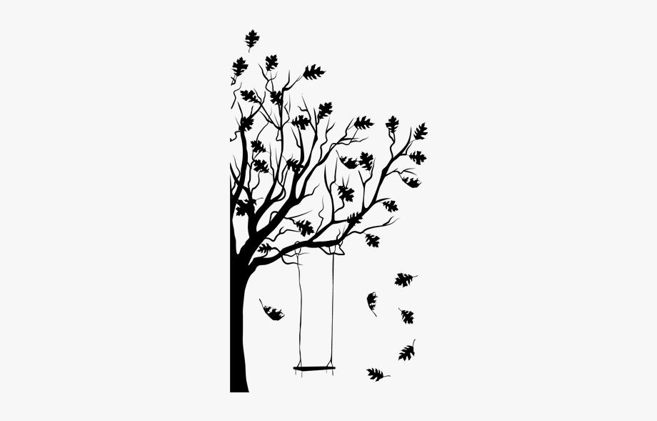 Ansicht Herbstbaum Mit Schaukel Als Wandtattoo.