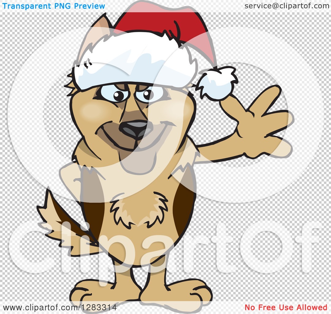 Clipart of a Friendly Waving German Shepherd Dog Wearing a.