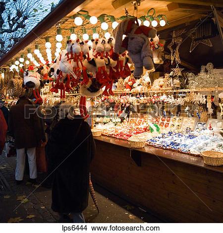 Stock Photo of france alsace strasbourg christmas market.