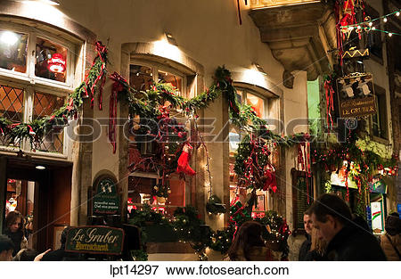 Picture of Decorated restaurant at night, Christmas time.