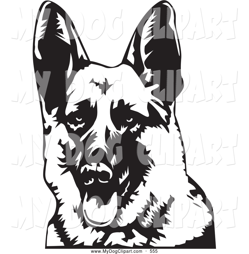 Clip Art of a Cute and Friendly German Shepherd Dog Panting with.