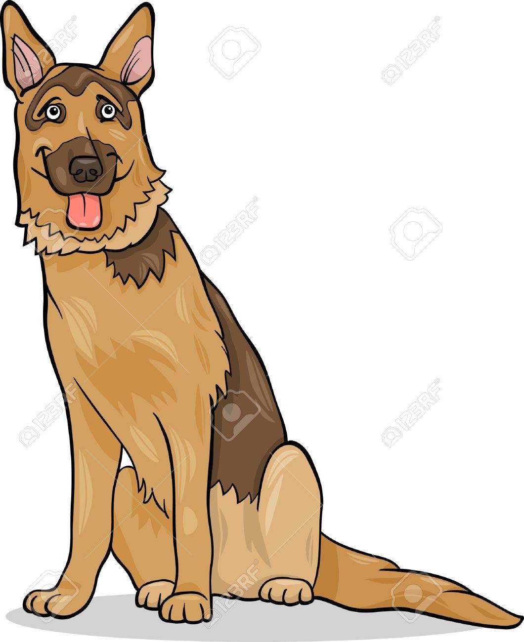 Cartoon Illustration Of Funny German Shepherd Purebred Dog Royalty.
