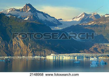 Pictures of Alsek Glacier & Lake Below St.Elias Mountains Glacier.