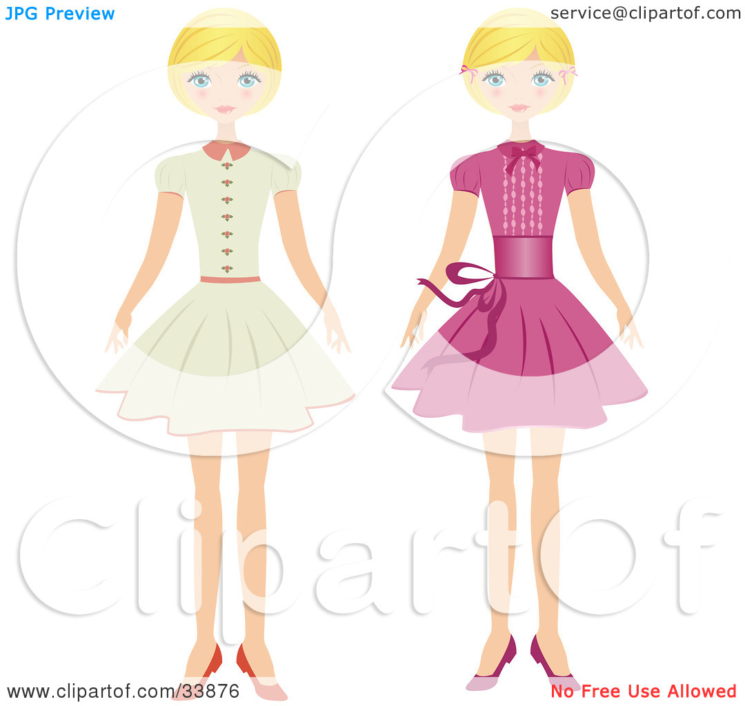 Clipart Illustration of a Blond Girl Shown In Two Poses, Wearing A.