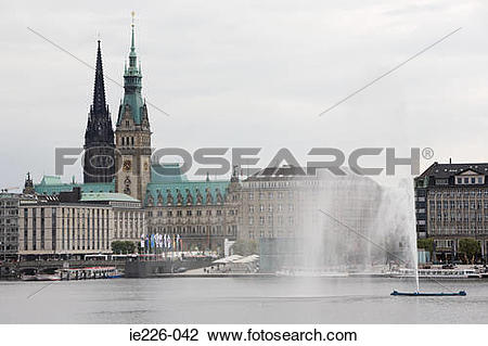 Stock Photo of Lake alster in hamburg ie226.