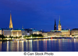 Pictures of Hamburg Alster Fountain At Night.