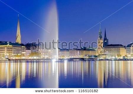 Hamburg Night Stock Photos, Royalty.
