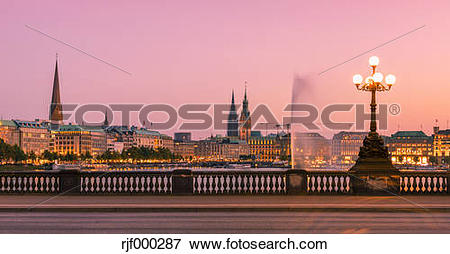 Picture of Germany, Hamburg, Inner Alster Lake, view from the.