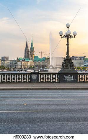 Stock Photography of Germany, Hamburg, Inner Alster Lake, view.