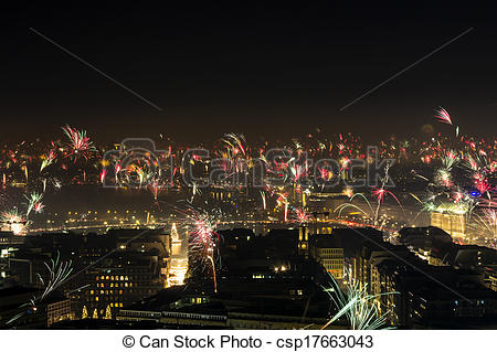 Stock Photo of New Year's Eve Fire Works Downtown Hamburg Alster.