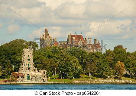 Stock Photography of Boldt Castle Complex.